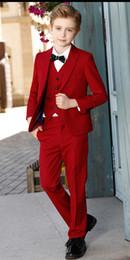 Новый красный высокое качество мальчик формальный комплект поводов костюм малыша свадебная одежда день рождения выпускного вечера костюм (куртка + брюки + галстук + жилет) № 3 cheap formal apparel от Поставщики официальная одежда