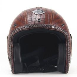 TKOSM Jahrgang 3/4 Lederhelme Motorrad-Sturzhelm-geöffneter Gesichts-Chopper Bike Helm Motorradhelm Moto Motocros von Fabrikanten
