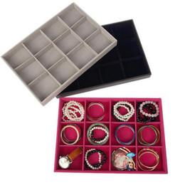 Bandejas de jóias de madeira on-line-12-grade de couro de veludo pulseira de jóias de madeira pulseira de argola anel de exibição organizador titular caixa de armazenamento caso