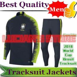 Wholesale football training pants tight - 2018 World Cup Brazil Soccer Training Jacket Suits Uniforms Chandal NEYMAR JR Football Tracksuits Survetement Tight Pants Soccer Tracksuits