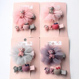 Wholesale Mixed Resin Clips - 16pcs  Lot Floral Shape Kids Hairpins Cartoon Resin Bear Animals Hair Clips Top Quality Girls 8 Sets Hair Cherry Bows Apple Hair