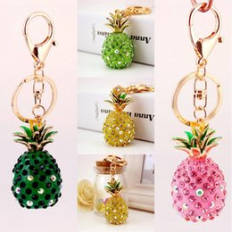 Wholesale Pineapple Purses - 4 Styles Crystal Fruit Pineapple Keychains Charms Rhinestone Purse Bag Hang Pendant Car Key Chain Keyring Fashion Jewelry Gift D979Q