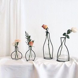 Wholesale Wholesale Iron Flower Stand - Metal Stand Crystal Flower Vase Plant Holder Iron Stand Holder Wedding Desk Party Decor Without Glass Cup