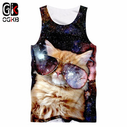 wholesale galaxy shirts Promo Codes - 2018 Gyms Clothes Women men Cool Print Galaxy Space 3d Tank Top Cat Singlets Unisex Bodybuilding Fitness Sleeveless Tee Shirt