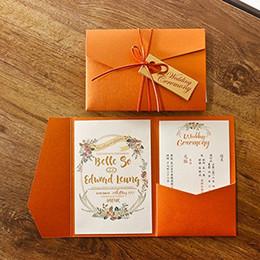 Canada Nouveau 3 Plis Orange Invitations De Mariage Cartes Pour Mariage Nuptiale Douche Fiançailles D'anniversaire De Remise Invitation Offre