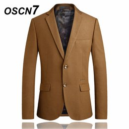 dd28294bfbd Chinese OSCN7 Camel Solid Mens Blazer Jacket Business Formal Leisure Suit  Jacket Large Size Blazer Masculino