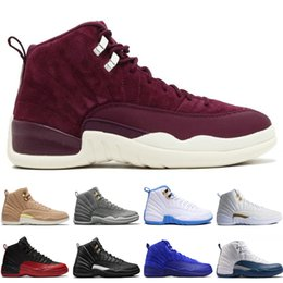 Wholesale fabric french - 12 12s mens basketball shoes Sunrise Bordeaux Dark Grey Wolf Flu Game The Master Taxi Playoffs French Blue Barons Gym Red Sports sneakers