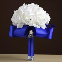 billige blumensträuße für braut Rabatt Günstige Hochzeit Brautsträuße Handgemachte Blumen Künstliche Rose Hochzeit Liefert Braut Halten Blumen Brosche Bouquet CPA1549