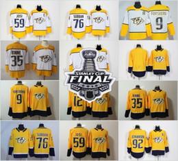 Nashville Predators 2018 Stanley Cup Finale Jersey 35 Pekka Rinne 12 Mike  Fisher 59 Roman Josi 76 PK Subban 92 Ryan Johansen 9 Filip Forsberg mike  fisher ... 27605086e