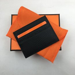Wholesale Top Leather Bags For Men - Genuine Leather Credit Card Holder Wallet Top Quality Slim ID Card Case for Man Woman 2018 New Arrivals Fashion Thin Coin Pocket Bag Purses