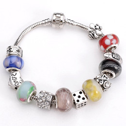 Wholesale Silver Murano Rings - Fit Pandora Charm DIY Beads Jewelry Silver plated Beautiful Fascinating Faceted Murano Glass Beads free shipping