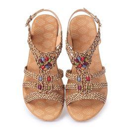 Wholesale w c cover - Women Sandals Real Leather Summer shoes Woman Flip Flops Fashion Beach Ladies Shoes Braided Women Non Slip Sandals Shoes Plus Size 35-42