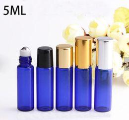 perfume de cobalto Desconto Atacado Vazio Garrafas De Rolo De Vidro Azul Cobalto 5 ml Rolo De Vidro Recarregáveis Em Garrafas Com Bola de Metal para óleos Essenciais Perfume