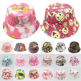 Wholesale holiday tennis - Colourful Unisex Baby Sun Hat Leisure Serie Flower Beach Sun Protection Hat Bucket Summer Holiday Cap Fisherman Cap 18 Styles Free DHL G851F