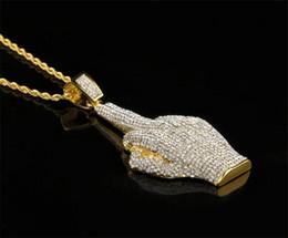 Wholesale Finger Wounds - 5pcs middle Finger Diamond Necklace Street Wind Heavy Drill Full Diamond Alloy Big Finger Pendant Vertical Hip Hop Necklace J044