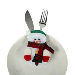 Wholesale Santa Claus Candles - Christmas Stocking Bags Dining Table Knife Fork Holder Santa Claus Christmas Decoration Party Supplies