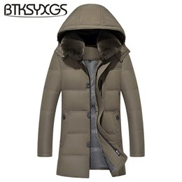 Wholesale Rabbit Fur Coat Men - BTKSYXGS 2017 New winter men's down jacket coat Fashion long Thick warm rabbit fur collar hooded parka outerwear   M-4XL