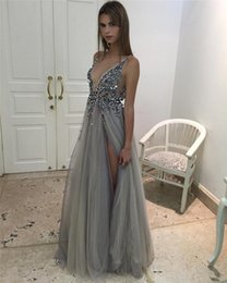 Discount sexy nudes thigh highs - 2018 High quality Thigh Split Evening Dresses Plunging Neckline Appliques Backless Prom Gowns Floor Length Tulle Evening Party Dress