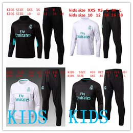 Wholesale Tracksuit Grey - kids Real Madrid Chándal de fútbol soccer tracksuit suit 2017 2018 kids kits 17 18 RONALDO KROOS youth kids training suit SPORTSWEAR
