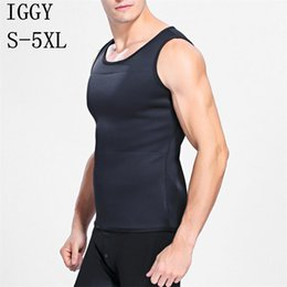 Wholesale Waist Slimmer Belt For Men - IGGY Body Shaper Vest Men T shirt Sweat Suits for Weight Loss Waist Belt Slimming Waist Trainer Hot Shapers Trainer Corset