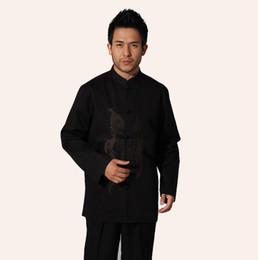 2019 camisa del dragón del fu del kung Camisa de Kung Fu de manga larga de algodón de algodón negro Camisa de dragón de bordado de estilo chino talla M L XL XXL XXXL hombre Camisa MS022 camisa del dragón del fu del kung baratos