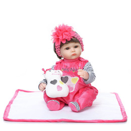 Wholesale Reborn Doll Hair - Reborn Baby Dolls Silicone Baby Girl Toy Girls Gifts Silica Gel Simulation Chemical Fiber Hair Soft