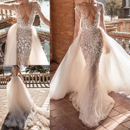 Wholesale Detachable Long Sleeve Bridal - 2018 Berta Mermaid Wedding Dresses With Detachable Train Lace Applique Deep V neck Beach Wedding Gowns Sweep Train Long Sleeve Sexy Bridal