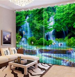 Wholesale kitchen oil paintings - custom luxury living room modern Oil painting autumn landscape curtain home goods 3d window curtain