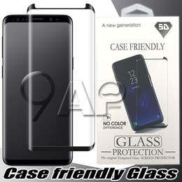 Wholesale glass screen protectors - Case Friendly Tempered Glass For Samsung Galaxy S9 Note 8 Note8 S8 Plus S7 Edge 3d Curved Case Version Phone Screen Protector