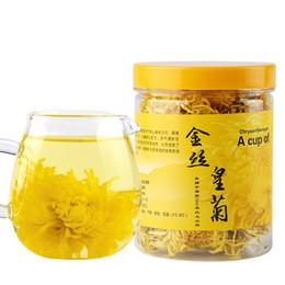 Chá dourado on-line-Venda direta Promoção Flor Chá 25g Crisântemo Real de Ouro de Alta Qualidade Chinês Flor Natural Chá Orgânico Saudável Saco de Embalagem
