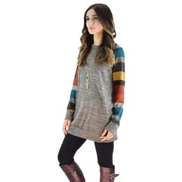 Wholesale working clothes styles for women - Women Dress Autumn Winter Long Sleeve O Neck Striped Patchwork Casual Style Cotton Yellow Blue Party Clothing for Ladies