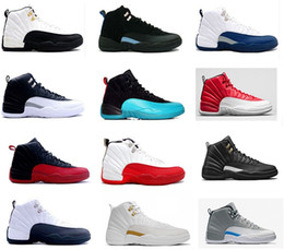 Wholesale french lace rose - 2018 12 man basketball shoes white flu game wool gym cherry red GS Barons black nylon french blue TAXI sneakers