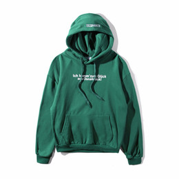 Wholesale Oversized Letters - 2018 NEW autumn winter vetements letter print new green color hoodie English Printed oversized hip hop men Cotton Sweatshirts
