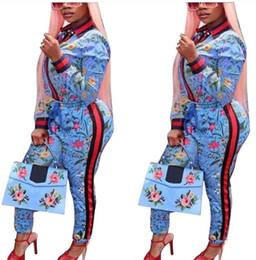 2018 Mais novo define flor da mulher imprimir manga longa jaqueta esporte + calças de duas peças senhoras calças compridas outerwear conjuntos casacos femininos de Fornecedores de calça senhora flor