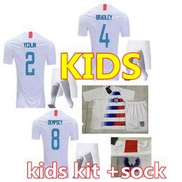 2019 coupe du monde des états-unis Maillots de football PULISIC 10 DEMPSEY BRADLEY 18 19 Etats-Unis d'Amérique maillot de foot Kits promotion coupe du monde des états-unis