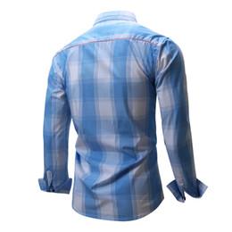 Vestido de bolsillo de mezclilla online-Camisa de hombre Camisas a cuadros de manga larga Camisa de vestir para hombre Marca Casual Denim Style Checks Tops con bolsillo Plus Size para hombres al por mayor
