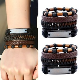 Wholesale Black Suit Men Leather - European Leather Suit Men Bracelet Volcanic Stone Beads Retro Braided Leather Bracelet For Women Men DIY Jewelry Valentine'S Gift D422S
