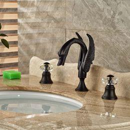 2019 bassin blanc en céramique Robinet de salle de bain Swan en gros et au détail en cristal de bronze traité à l'huile de cristal de bronze 8