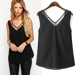Wholesale V Neck Tank Tops - Fashion Women Tops Ladies summer style Chiffon tank top short Blouse Shirt Blusas vestidos Femininas Casual Ropa Mujer 2