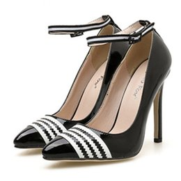 4e472b8f5e98d office lady white black wave pattern pointed toe ankle strappy pumps  profession shoes women designer shoes size 35 to 40