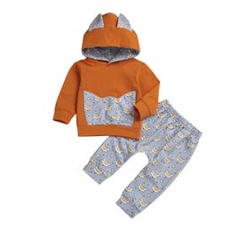 387a54c24dd Children Boys And Girls Fox Cartoon Ears Hooded Sweater Top+Trousers  Two-Piece Suitfit Clothes Fashion Cute Kid Winter Warm Set