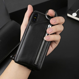 Wholesale vivo case - Zipper TPU Leather Wallet Case Back Cover Protector with Kickstand Bracket Holster Credit Card Slots Money Pouch for iPhone Oppo Vivo