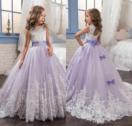 Canada 2018 arabe lumière violet fleur filles robes pour les mariages perles en dentelle appliques robe de bal anniversaire fille communion pageant robe MC1528 supplier arabic dresses for weddings Offre