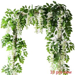 Wholesale Wall Decorations Flowers - 2PC Artificial Flowers 6.6ft Silk Wisteria Ivy Vine Hanging Garland Wedding Party Supplies Christmas Home Garden Decoration Fake Flowers