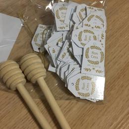 Wholesale Dance Stickers - Wooden honey dippers sticker favors for baby shower giveaways wedding favours 8cm 10cm 10.5cm 15cm 16cm 500pcs lot