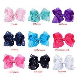 Wholesale Baby Bling - 8 inch Rainbow Unicorn Sequin Hair Bow Bling bows Hair Clip Baby Girl Rainbow Bestie Bows
