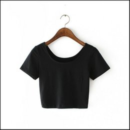 Wholesale Basic Tee Crop Top - New Women U neck Sexy Crop Top Ladies Short Sleeve T Shirt Tee Short Basic Stretch OneSize