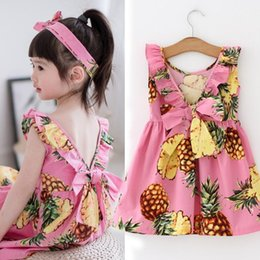 Wholesale Summer Clothes For Children - Summer Girl Dresses Girls Pineapple Dress Children Sleeveless Clothing Pink Cololr for 1~7 Y 5 p