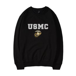 characters print sweatshirt Promo Codes - USMC Pullover Cool Autumn Winter Clothing Men Women United States Marine Corps Logo Print US MC Cool Hoodie Sweatshirt
