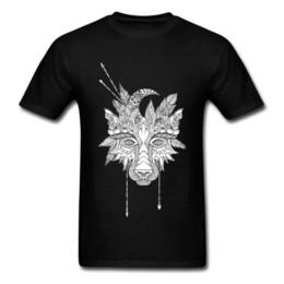 Descuento 2018 O - Cuello de Algodón Hombres Top Camisetas Tribu Boho Wolf Tótem Indio Imagen de Imagen Tops Sudadera de Alta Calidad de Manga Corta desde fabricantes